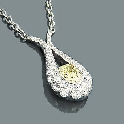18K Oval Natural Yellow Diamond Drop Necklace 1.08