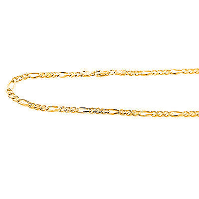 14K Yellow Gold Concave Figaro Chains Collection Item 5mm 20in - 40in
