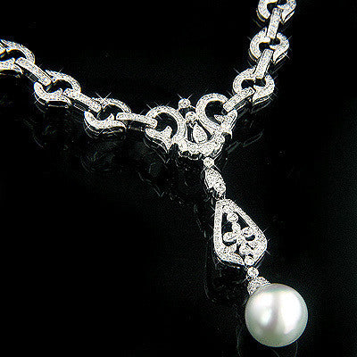 18K Gold Ladies Diamond and Pearl Necklace 3.21ct