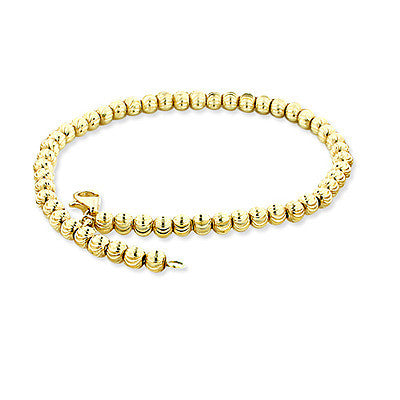 10K Yellow Gold Moon Cut Chain Bracelet 6mm 7.5-9in