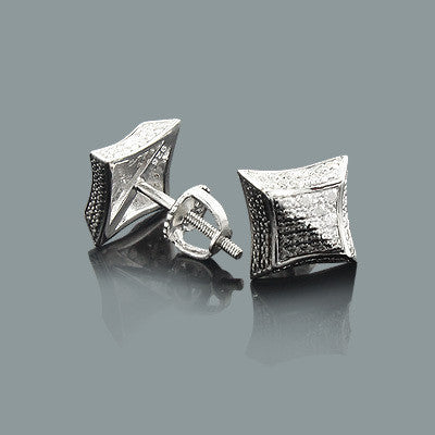 68ec57aef Black and White Print Diamond Stud Earrings 0.12ct Silver