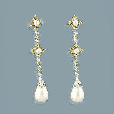 14K Gold Citrine Pearl Diamond Drop Earrings 1.75ct
