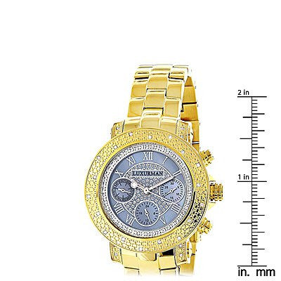 Luxurman Real Diamond Watch For Women 0 3ct Yellow Gold Plated
