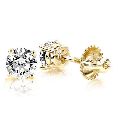 set gold classic back prong view stud tension round basket diamond earrings cut studs yellow