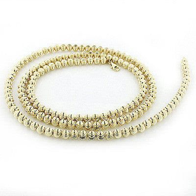 Mens Chains: Yellow Gold Ball Moon Cut Chain 10K 5mm 22-40in