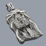 Silver Black Diamond Jesus Face Pendant 5.78ct