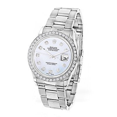Custom Diamond Bezel Rolex Datejust Men's Watch 3ct