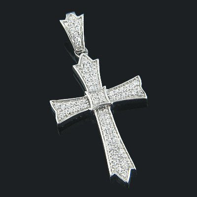 14K Gold Designer Pave Diamond Cross Pendant 0.31ct