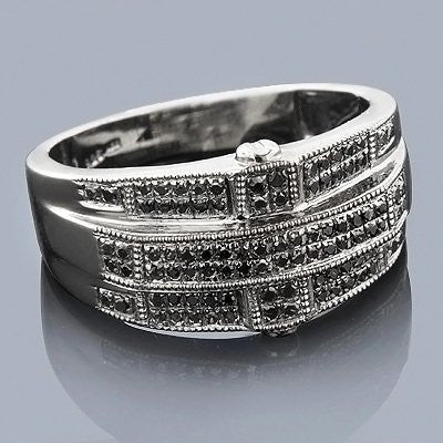 Black Diamond Rings: Sterling Silver Mens Ring 0.60ct