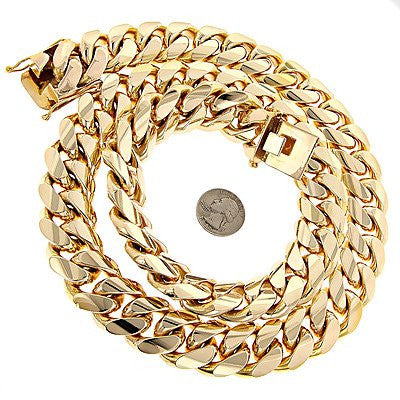 1.5 Kilo Miami Cuban Link Chain 14K Solid Gold Necklace Acc