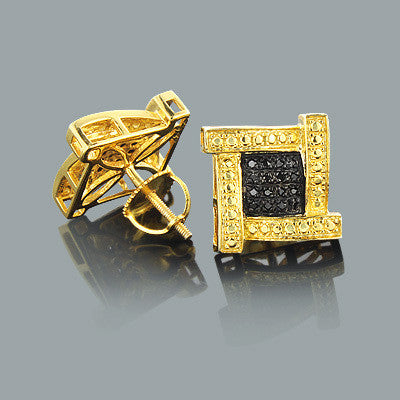 Black Diamond Earrings 0.25ct Yellow Gold Plated Silver