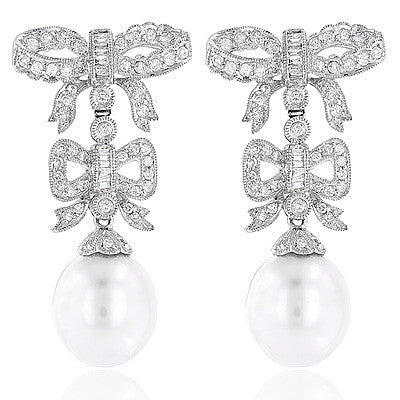 18K Diamond South Sea Pearl Earrings Bowtie 1.22ct