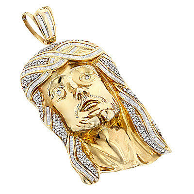 Hip Hop Jewelry: Sterling Silver Diamond Jesus Face Pendant 5ct