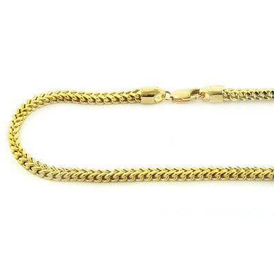 14K Solid Yellow White Gold Franco Chain 30-40in 3.5mm Acc