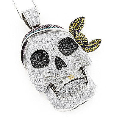 14K Gold Color Diamond Pirate Skull Pendant 17.3ct
