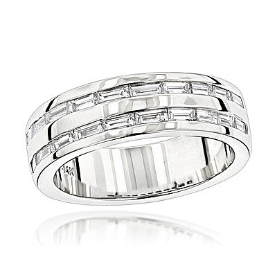 14K Gold Baguette Diamond Men's Wedding Ring 1.10ct