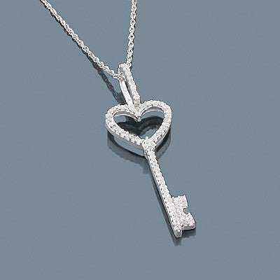 14K Gold Diamond Key Pendant 0.20ct