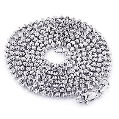 White Gold Moon Cut Bead Chain 10K 2mm 22 in - 40in Acc