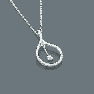 14K Gold Diamond Drop Pendant 0.18ct