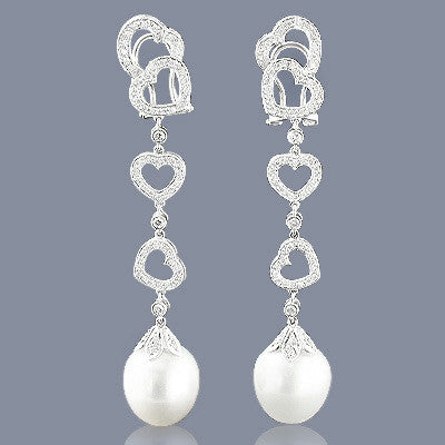 14K Diamond Heart Pearl Earrings 2.00ct