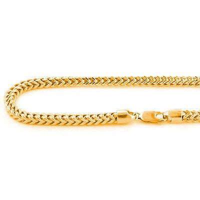 10K Solid Yellow Gold Franco Chain Necklace 26-40in,4mm Acc
