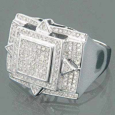 10K Gold Mens Pave Diamond Ring 1.50ct