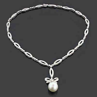 Pearl Necklace With Diamonds 2 51ct 18k Gold Designer Jewelry