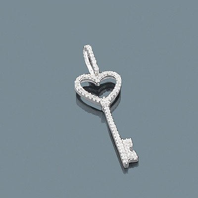 Diamond Key Pendant 0.20ct Sterling Silver