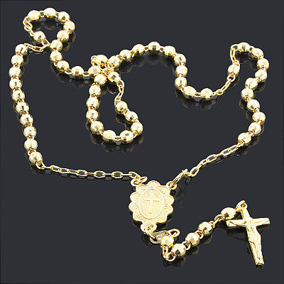 14K Yellow Gold Rosary beads necklace 10 3/4 in. Acc