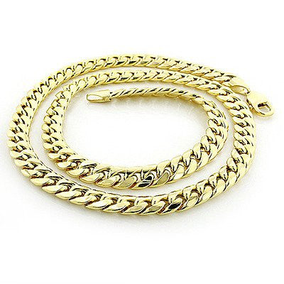 14K Yellow Gold Miami Cuban Link Curb Chain 8mm Wide 22in-40in Long Acc