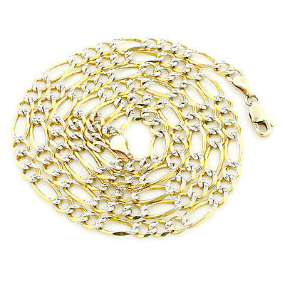 White Gold Diamond Cut Figaro Chain 10K 5.5mm 22-24in Acc