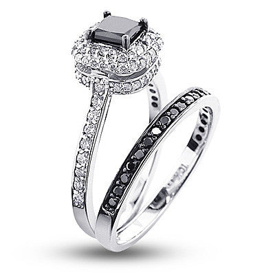 10K Gold White Black Diamond Unique Bridal Engagement Ring Set 12ct
