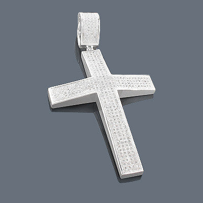 Mens sterling silver diamond cross pendant 131ct iceberg diamonds inc mozeypictures Image collections
