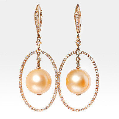 18K Golden Pearl Diamond Drop Earrings 0.54ct