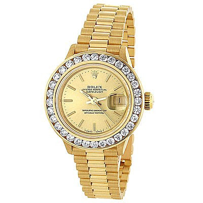 18k Yellow Gold Ladies ROLEX Oyster Diamond Watch Perpetual Datejust 3