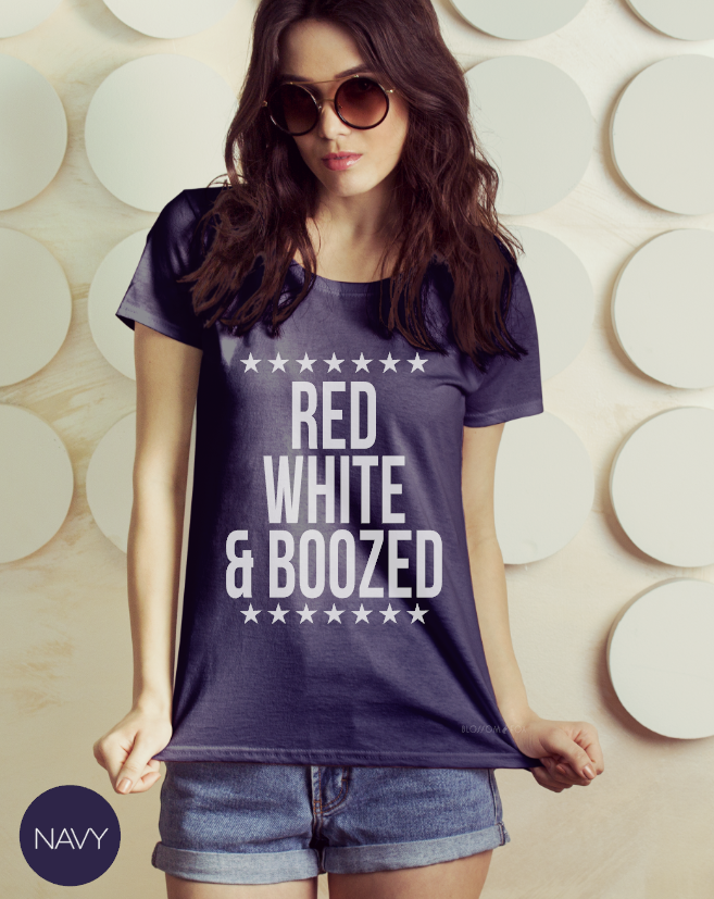 Red White and Boozed t Shirt, 4th of July Shirt