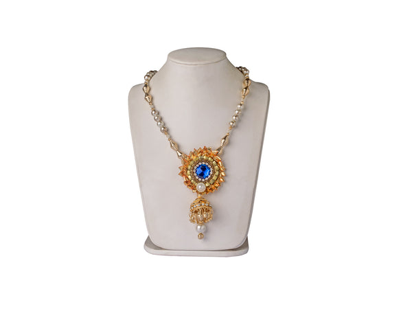 A long full Set in gota flowers with blue stone and gold beads IP/GJ/S-006