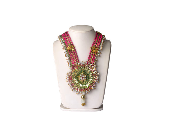 A long full Set in pink and green gota flowers and lace IP/GJ/S-007
