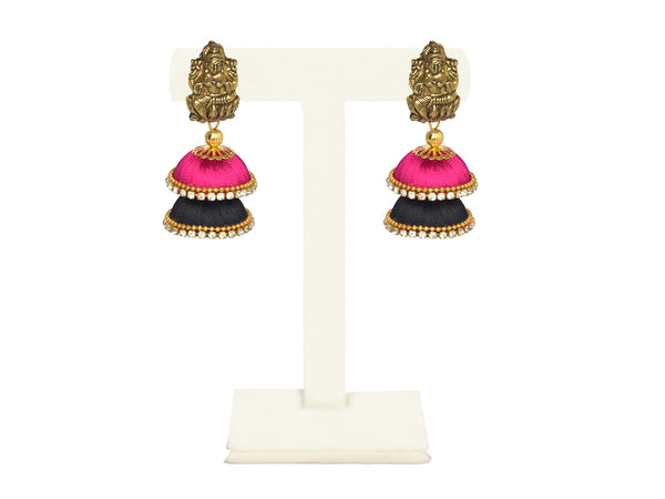 A pair of earrings in Fuschia pink and black with temple top IP/GJ/E-006