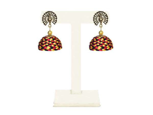 A pair of earrings in Fuschia pink, yellow and black with a peacock top IP/GJ/E-007