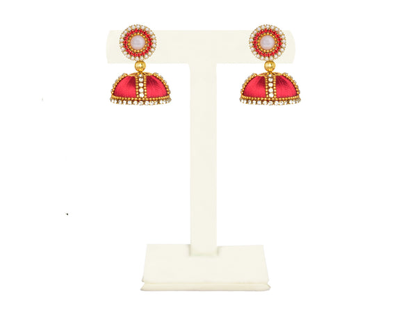 A pair of earrings in bright red, with a pearl and diamond top IP/GJ/E-009