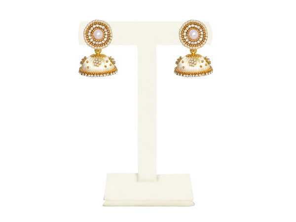 A pair of earrings in pearl white, with a pearl and diamond top IP/GJ/E-010