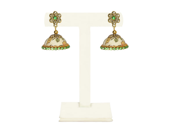 A pair of earrings in a printed floral fabric, with a gold flower top IP/GJ/E-014