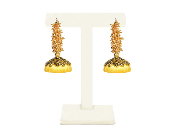 A pair of looped earrings in sunshine yellow, with a bunch of gold balls on top IP/GJ/E-015