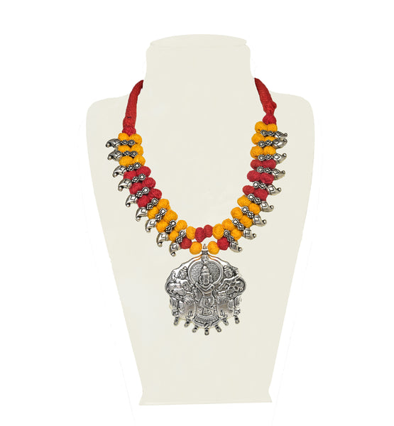 A necklace in sunshine yellow, red and silver IP/GJ/S-010