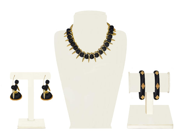 A full set in black fabric balls and gold beads IP/GJ/S-016
