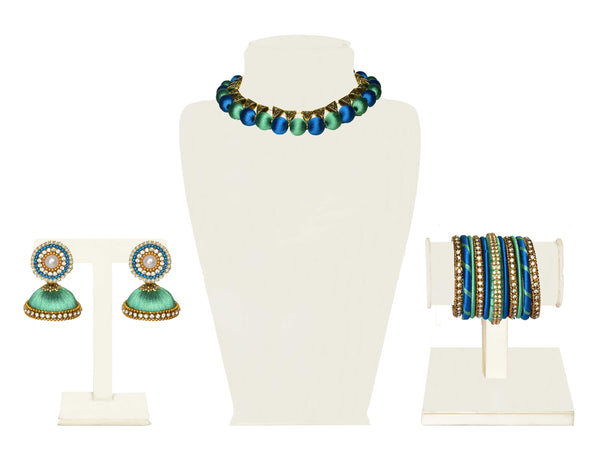 A full set in sea green and cerulean blue fabric balls and triangular gold beads IP/GJ/S-018
