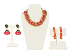 A full set in orange and bright pink fabric beads with a cluster of tiny gold beads IP/GJ/S-019
