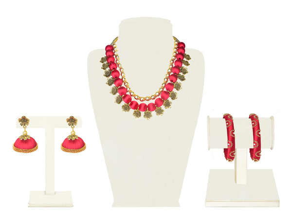 A full set in red fabric balls and floral gold beads IP/GJ/S-021