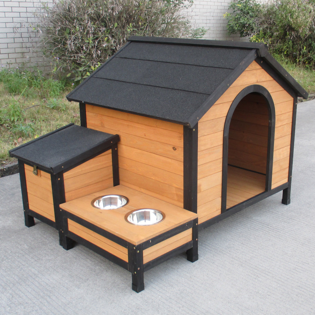 Wooden Dog Kennel with Storage and Food Tray